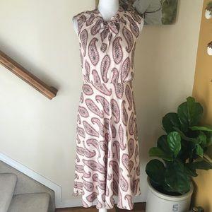 Ann Taylor paisley career sleeveless dress size 4